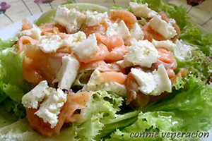 Smoked salmon, lettuce and kesong puti (white cheese) salad