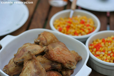 casaveneracion.com buttered corn and carrots served with oven grilled chicken