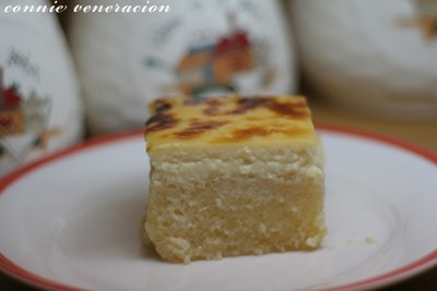 a serving of cassava bibingka with custard topping