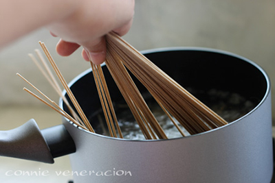 cook the soba noodles in boiling water