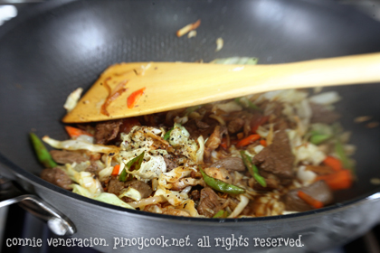 casaveneracion.com Recipe for Pancit miki (thick egg noodles) with pork and vegetables