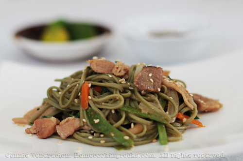 casaveneracion.com Cha (green tea) soba with oyster mushrooms