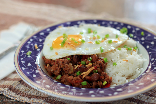 Chili and egg breakfast