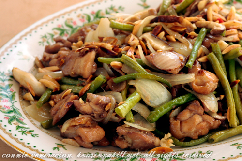Stir fried chicken, almonds and skiitake mushrooms