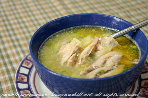 Chicken, leek and potato soup