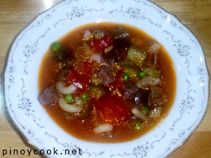 Chunky beef, tomato and eggplant soup