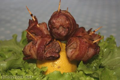 Bacon – wrapped chicken livers