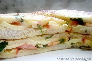 Cheese and tomato sandwich