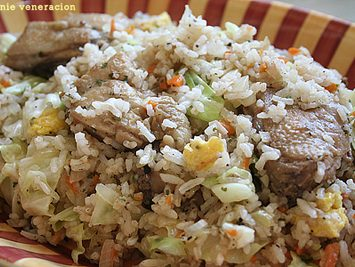 Fried chicken and cabbage fried rice