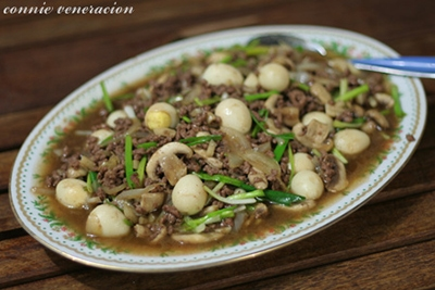 Ground beef, mushrooms and quail eggs in oyster sauce