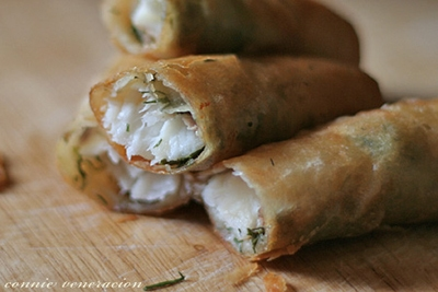 Easy hors d'œuvre: fish and fresh dill spring rolls