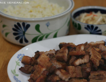 Vietnamese barbecued pork with garlic and egg fried rice