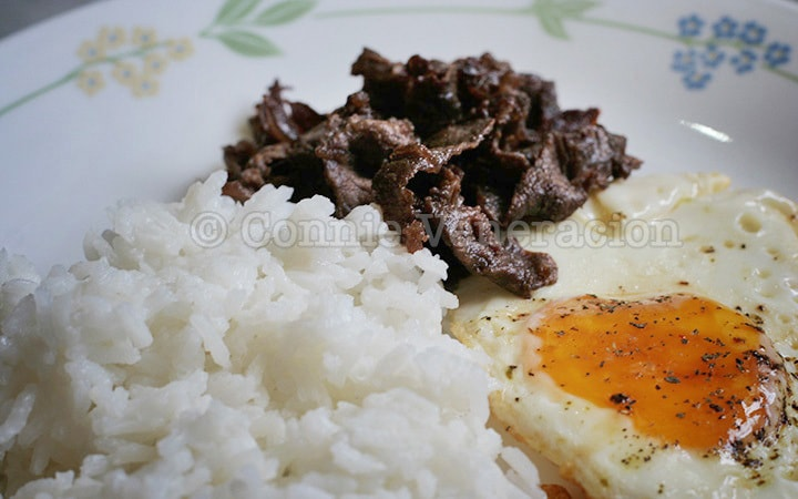 tapsilog: salted beef, fried rice and egg