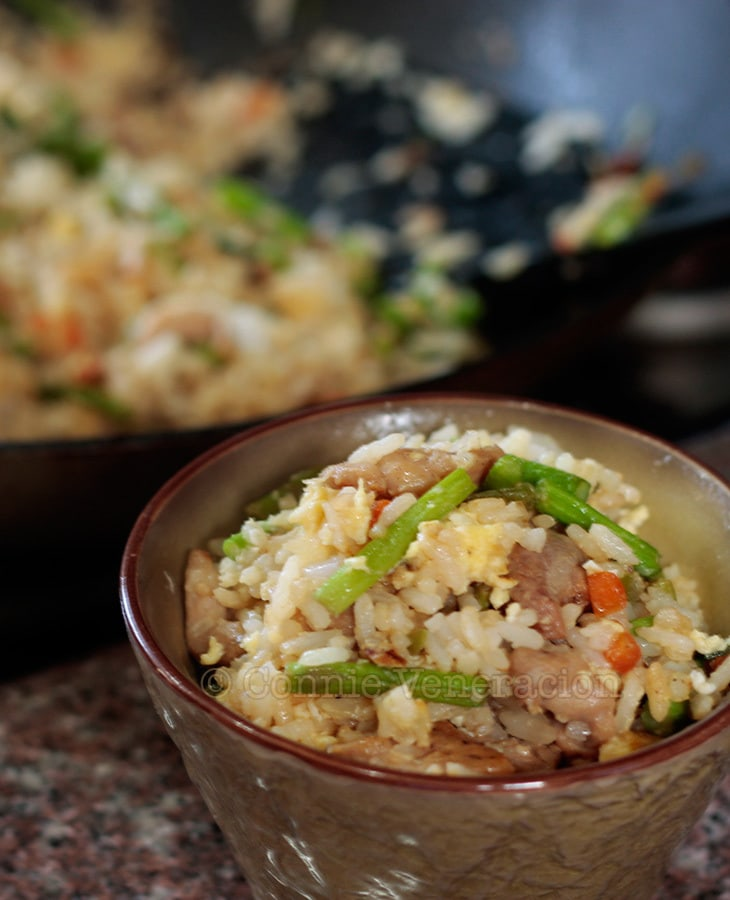 Chicken and spring garlic fried rice