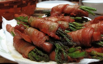 Bacon, asparagus and mushroom rolls