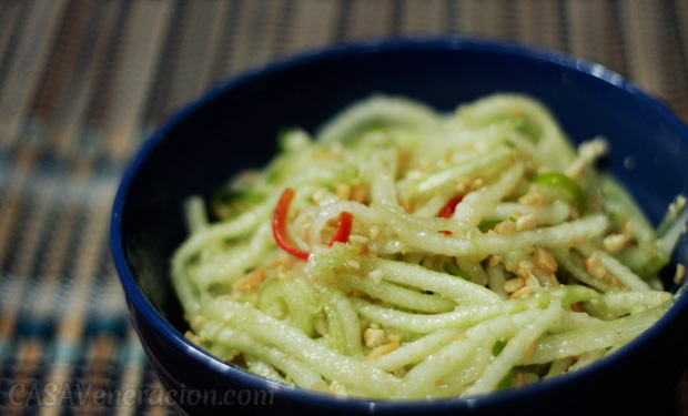 Cucumber salad with roasted pili nuts