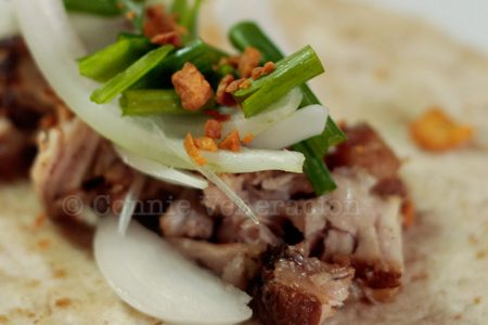 Whole wheat tortillas with pork adobo filling