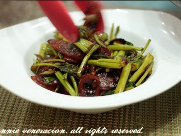 Chinese sausages and kangkong with sweet soy sauce