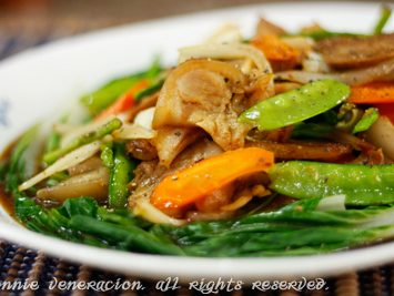 Stir fried pork and vegetables with sweet soy sauce