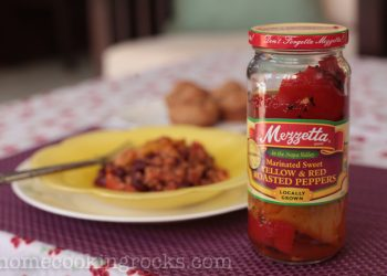 Marinated sweet yellow and red roasted peppers
