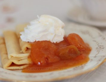 Crêpes with apricot jam and syrup