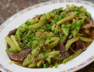 Stir fried beef and chayote