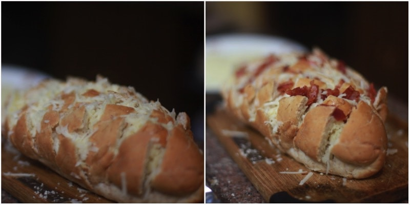 Blooming bread with cheese and bacon
