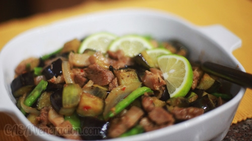 Pork and eggplant stir fry