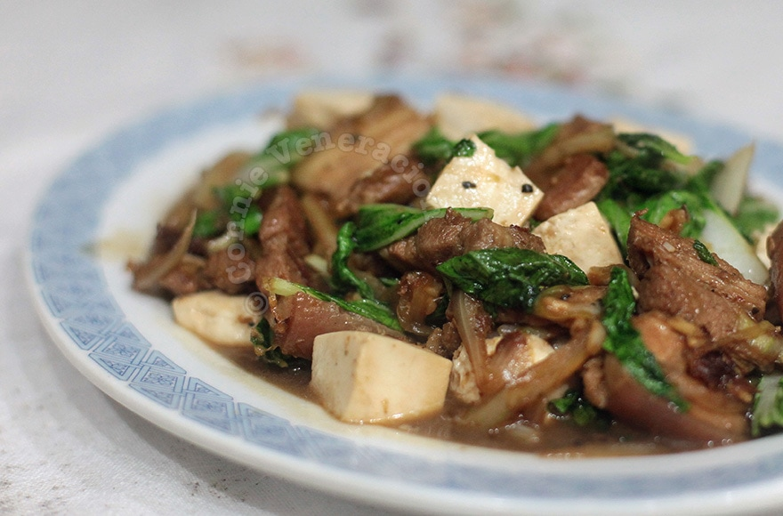 Pechay (bok choy) with pork and tofu in oyster sauce