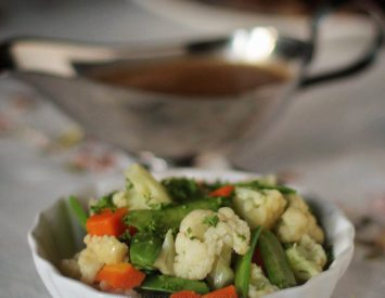 Blanched vegetables tossed with butter and herbs