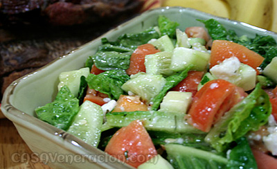 Salted eggs and vegetables salad