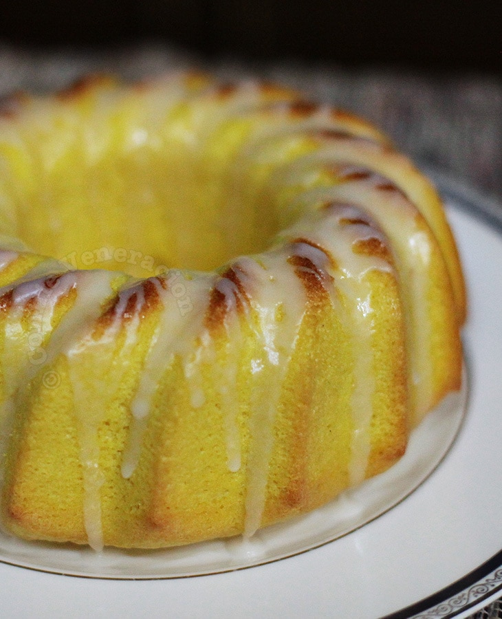 Lemon chiffon cake with lemon glaze