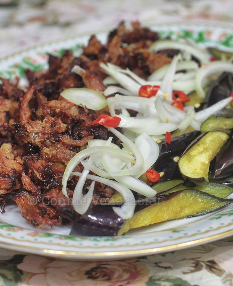 Spicy pulled pork with flash-fried eggplants
