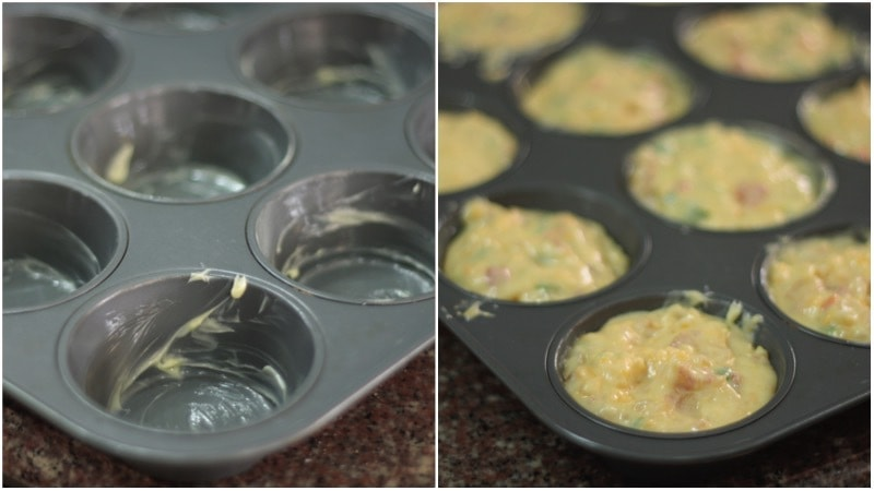 Bacon, cheese and pepper muffins