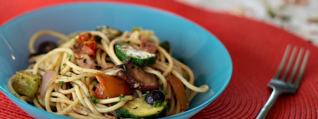 casaveneracion.com Ratatouille-inspired summer garden pasta: light on the meat, heavy on the veggies