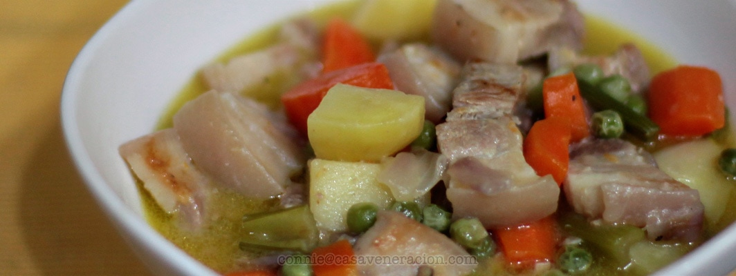 Pork stew. Light enough for summer. Filling enough for dinner. | casaveneracion.com