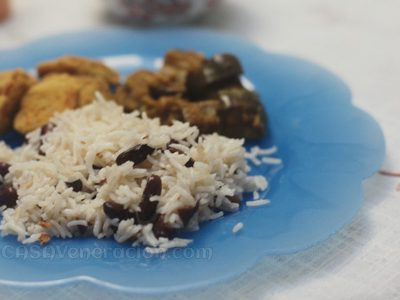 Rice and beans in coconut milk