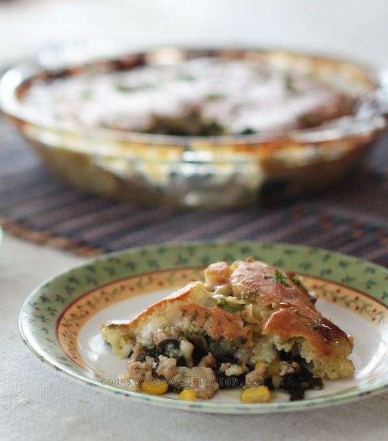 Pork, corn and spinach pot pie