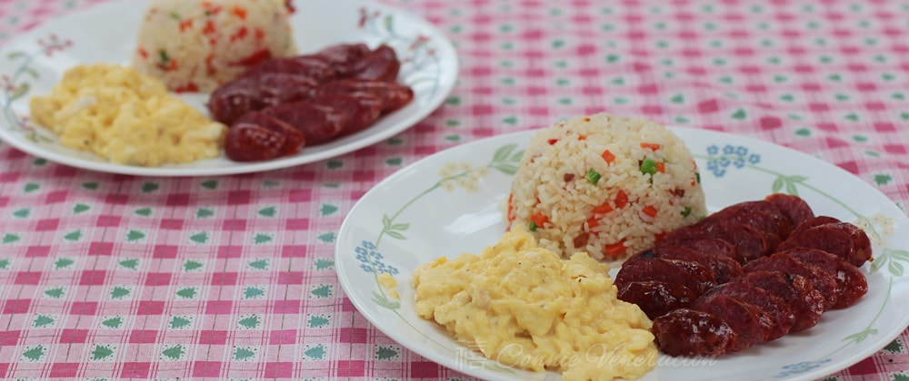 Longsilog (Filipino sausage, egg and rice breakfast), repackaged
