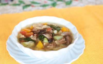 Beef, mushrooms and vegetables soup