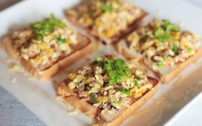 bacon-egg-corn-open-faced-sandwich