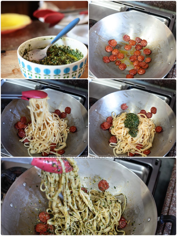 Casaveneracion.com Linguine with chorizo and pesto