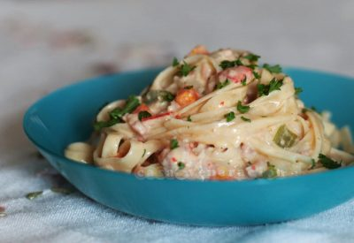 bacon-vegetables-pasta-cream-sauce