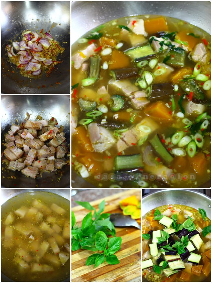 Thai-inspired herbed pork and vegetables soup