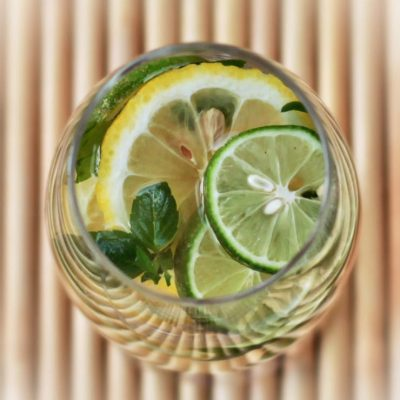 White sangria with citrus and mint