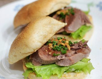Spicy cold ox (beef) tongue sandwiches