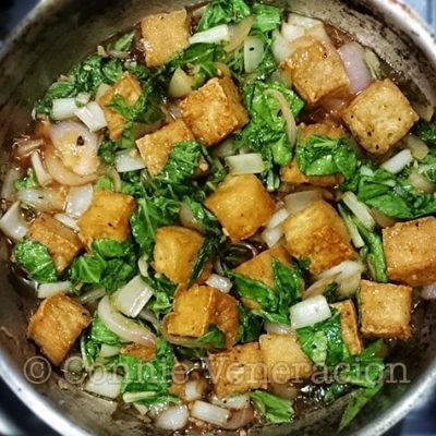 Garlicky tofu and pechay (Chinese cabbage) stir fry