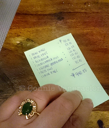 The bill for dinner for four at Felicidad, UP Maginhawa