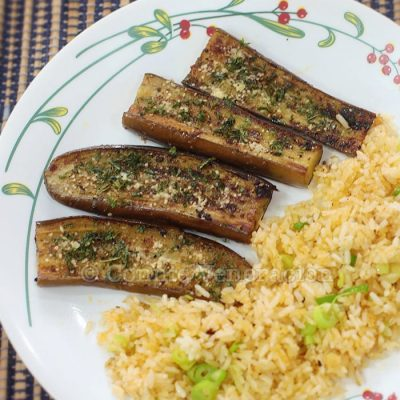 Pan-grilled eggplant and spicy scallion fried rice