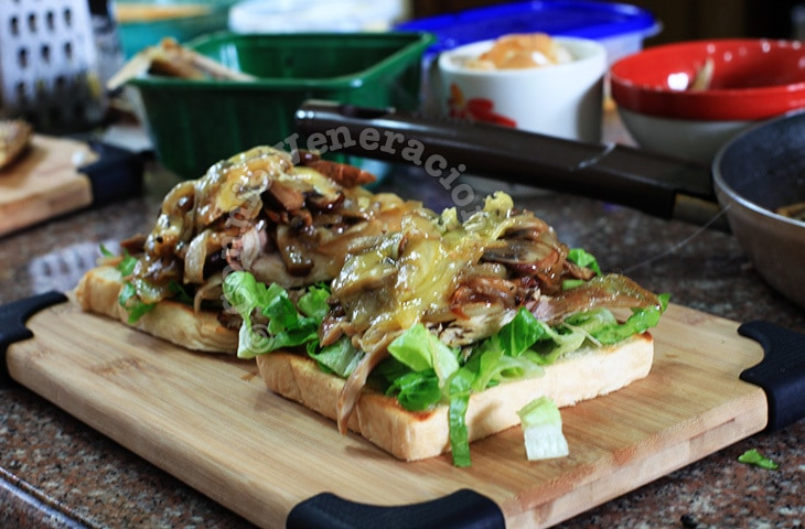 Cheesy Chicken and Mushrooms Sandwich